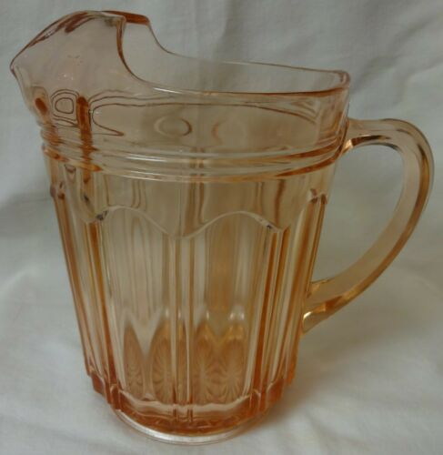 "Colonial Knife and Fork Pink Pitcher Ice Lip 8.25"" Hocking Glass Company"