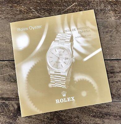 ROLEX Price List 1999 Spain 16520 16523 16528 16518 16600 16700 16710 16610 OEM