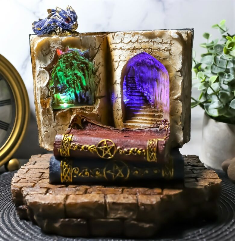 Ebros Fantasy Dragons Book Of Spells LED Light Display For Miniature Figurines