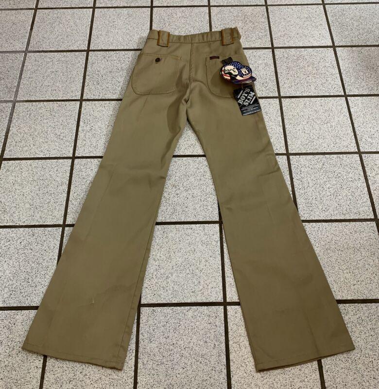 Vintage Boys Pants Hippie Bell Bottom 1970s Disco Tan Khaki Playboy NWT 16 Slim