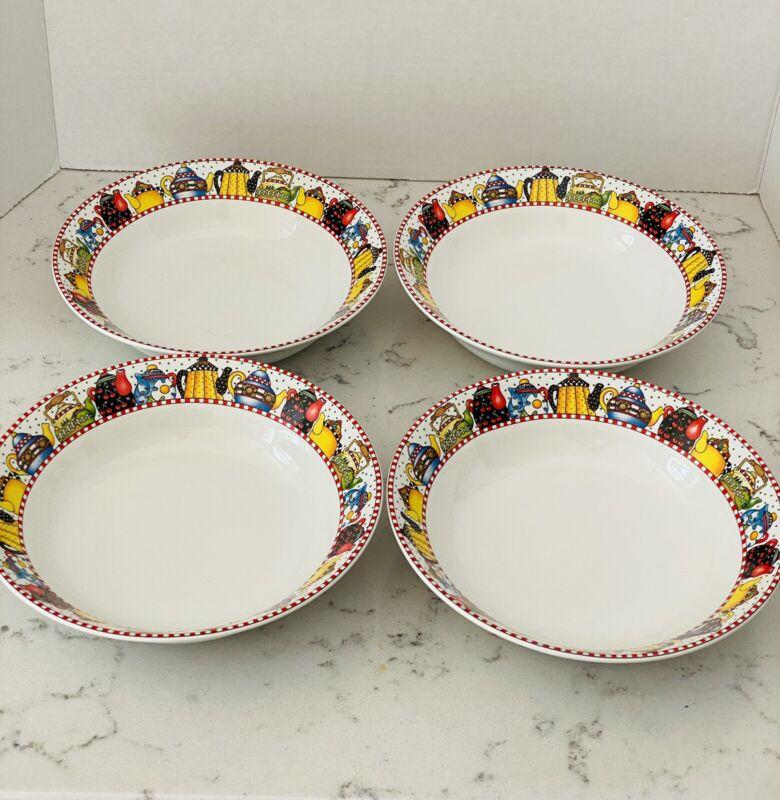 "Set of 4 Vintage Mary Engelbreit Afternoon Tea Soup Salad Bowls 1994 7 1/2"""