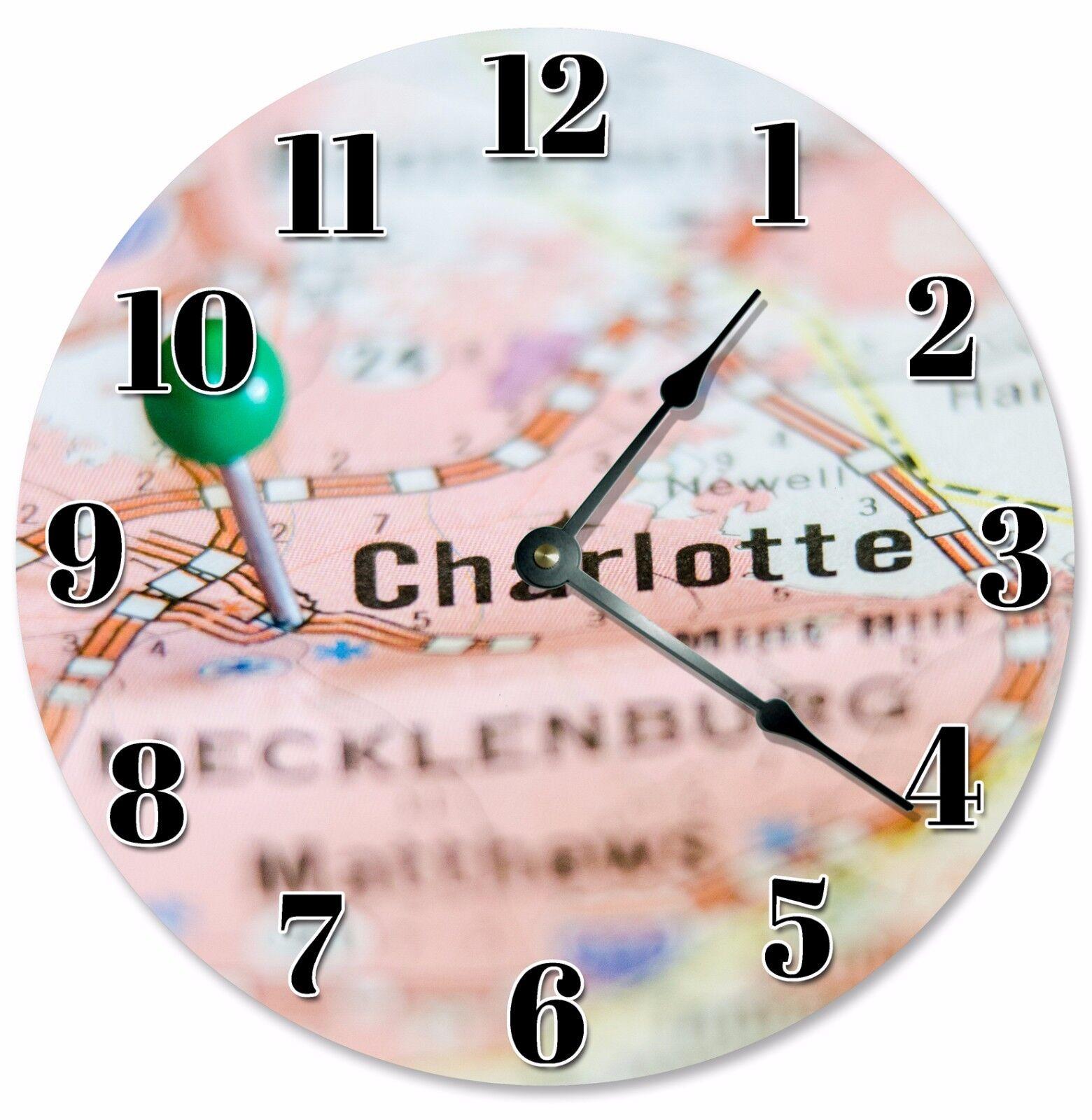 "CHARLOTTE MAP LOCATION Clock - Large 10.5"" Wall Clock - 2068"