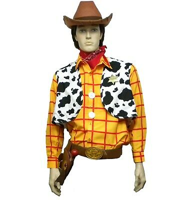 New 11 Pc Toy Story Adult Large XL Woody Costume Shirt Vest Buckle Holster Badge - Woody Vest