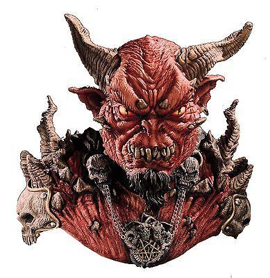 Halloween EL DIABLO Adult Latex Deluxe Mask & Shoulders With Devil Horns NEW - Diablo Halloween