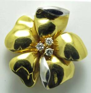 Quality Italian Floral Brooch: Diamond-set.  H4939