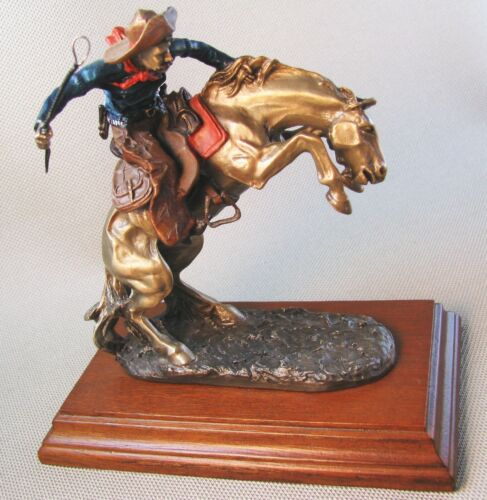 Classic Pewter Remington Bronze Inspired BRONCO BUSTER  Cowboy Figurine 1990