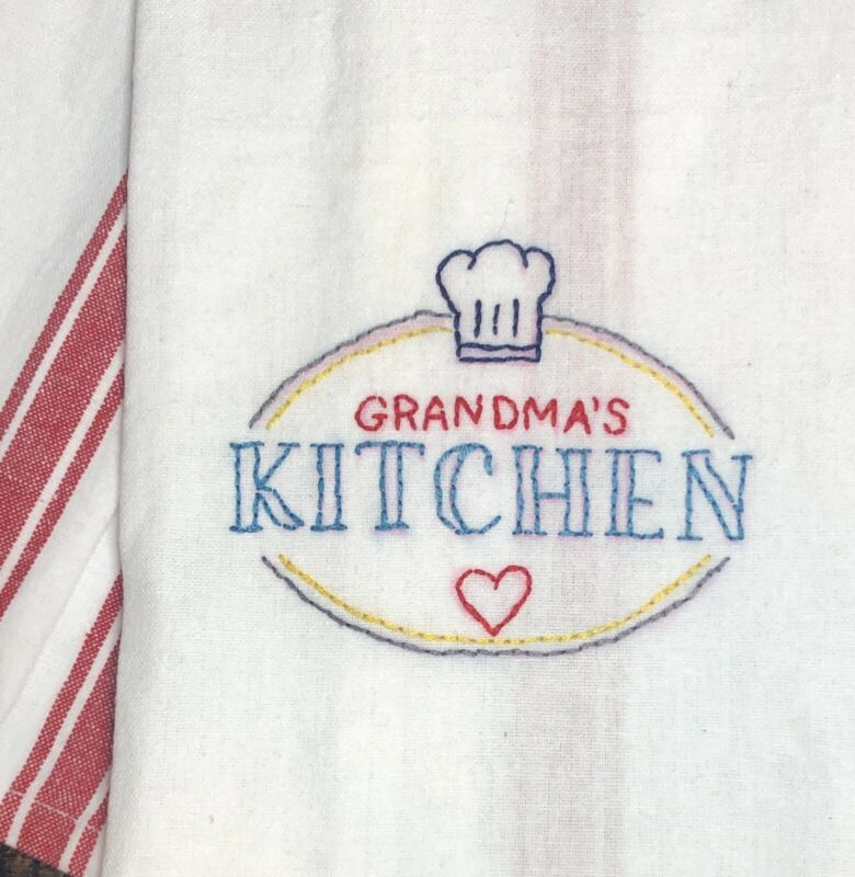 """Mary's Stitches """"Grandma's Kitchen"""" Hand-Embroidered Kitchen Towel Mother's Day!"""