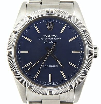 Rolex Air King Precision Mens Stainless Steel Watch Oyster Band Blue Dial 14010