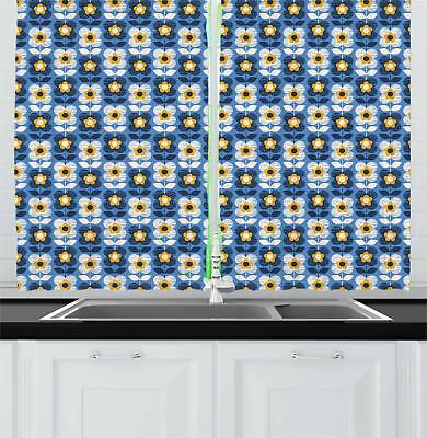 Blue and Yellow Kitchen Curtains 2 Panel Set Window Drapes 55