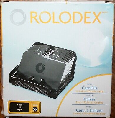 Rolodex Metalmesh Open Tray Business Card File. Holds 125-2 14x4 Cards Black