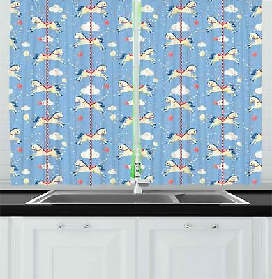 "Horse Kitchen Curtains 2 Panel Set Home Decor Drapes 55"" X 3"