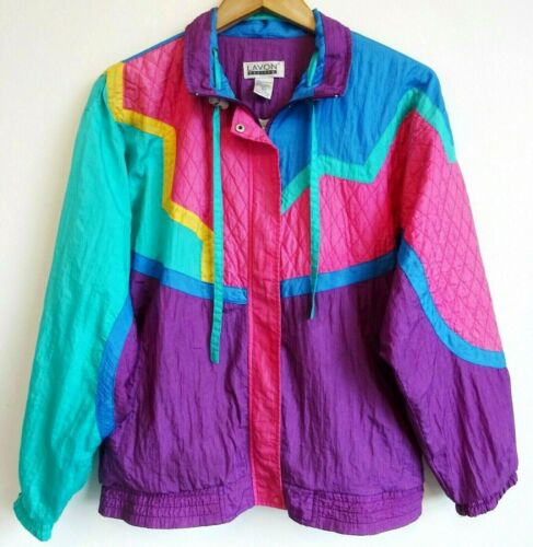 Vtg 80s 90s LAVON Colorblock Quilted Streetwear Sporty Windbreaker Track Jacket