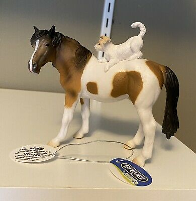 Breyer Collecta Pinto Mare With Jack Russel Dog Puppy