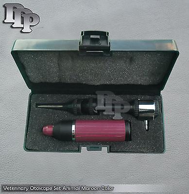 Veterinary Otoscope Set Animal Diagnostic Instruments Maroon