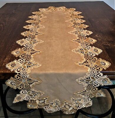 Doily Boutique Table Runner or Doily with Vintage Gold Lace and Brown Microsuede - Gold Lace Table Runner