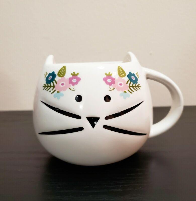 Cat Head Shaped Mug - White  W/Flowers