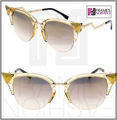 FENDI IRIDIA FF0041 Crystal Yellow Gold Translucent Mirror Sunglasses Optyl 0041