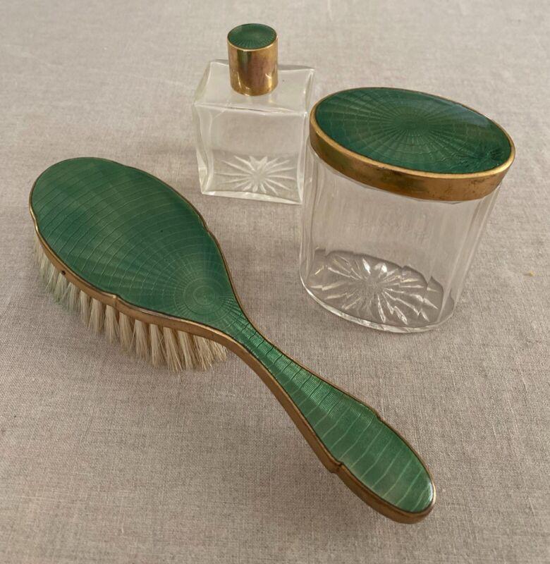 Vintage Emerald Green GUILLOCHE ENAMEL TOP Dresser Brush & Jar Set