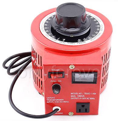 Variable Ac Power Auto Variac Transformer Voltage Regulator Meter 0-130v 10a 1kw