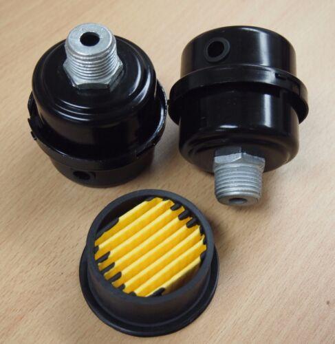 "Lot of (2) Air Compressor Metal Air Filter Silencer 1/2"" MPT Paper Cartridge"