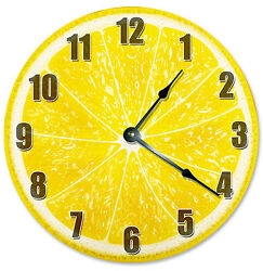 YELLOW LEMON  CLOCK Large 10.5 inch Round Wall Clock FRUIT - 2189