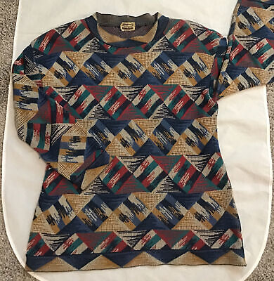Vintage Missoni for Neiman Marcus Italy Geometric Print Pullover Sweater M