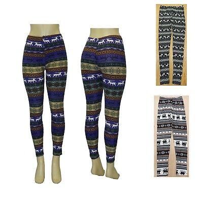NEW COMFY SOFT NORDIC SNOW FLAKES REINDEER STRETCH FULL LENGTH LEGGING FOOTLESS Comfy Footless Leggings