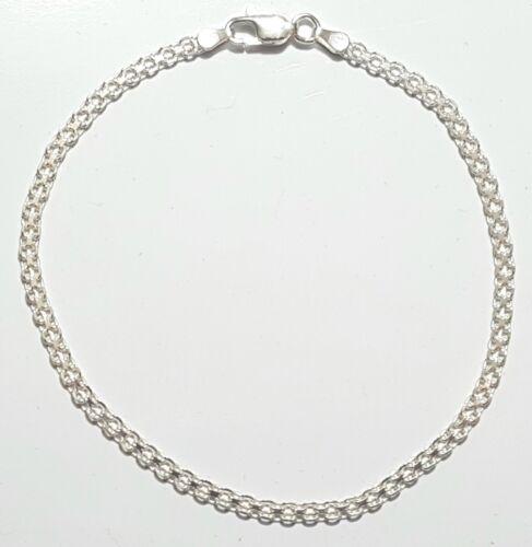 Bismark Ankle Bracelet 10 inches Long  925 Sterling Silver Bizmark Anklet Italy
