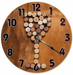 WINE CORKS WINE Glass Clock - Large 10.5 Wall Clock - 2114