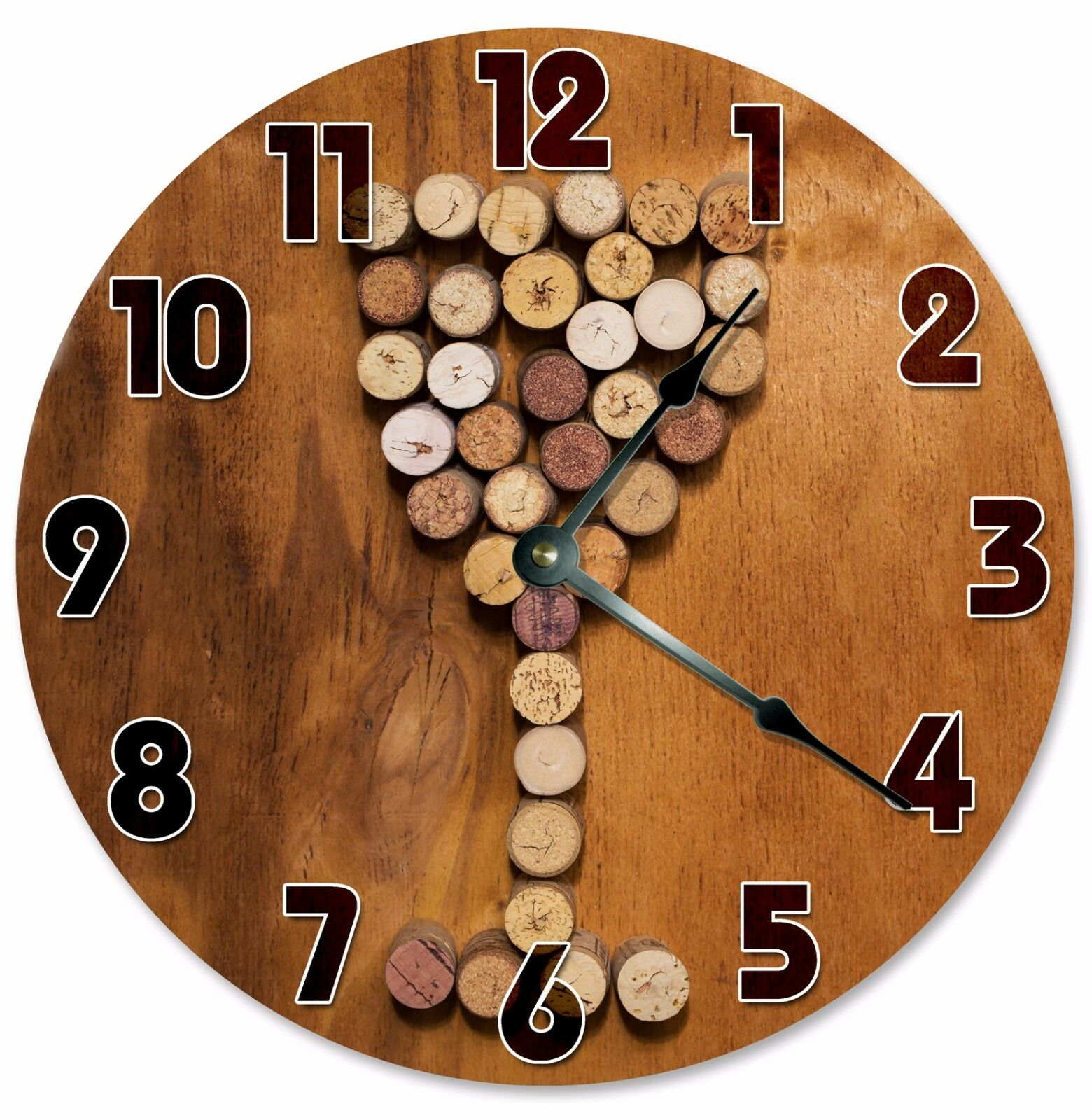 "WINE CORKS WINE Glass Clock - Large 10.5"" Wall Clock - 2114"