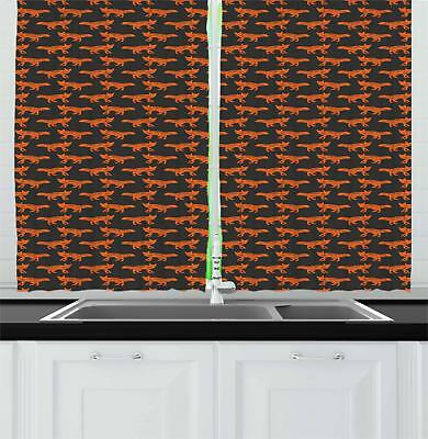 "Fox Kitchen Curtains 2 Panel Set Window Drapes 55"" X 39"" Amb"