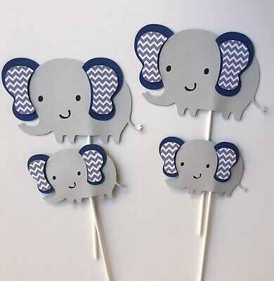 Elephant centerpieces stick/ Navy blue and gray elephant/ Elephant baby shower