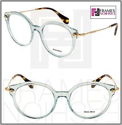 MIU MIU NOIR MU04PV Cat Eye Eyeglasses Optical Frame Azure Translucent 52mm 04P