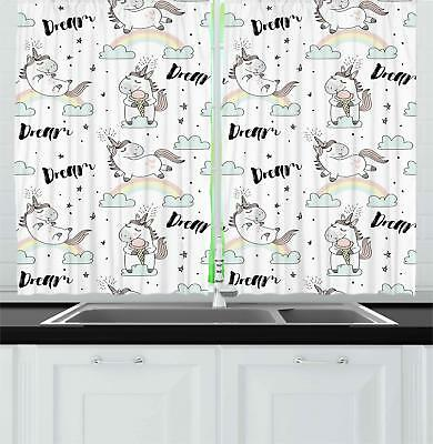Unicorn Kitchen Curtains 2 Panel Set Decor Window Drapes 55""