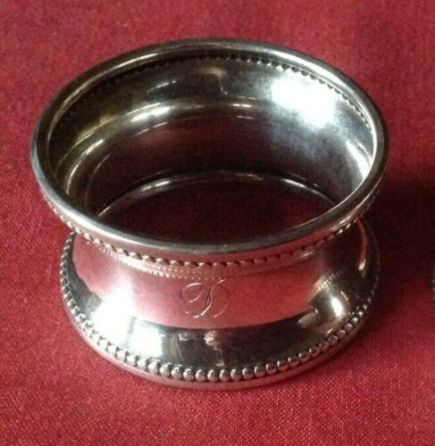 """Antique English Sterling Silver Napkin Ring(s) """"D"""" initial engraving d. 1924"""