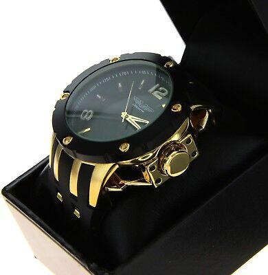 Black Bezel Watch - Mens Oversize Watch DEPORTE 9851 Gold & Black Bezel Hard Silicone Band