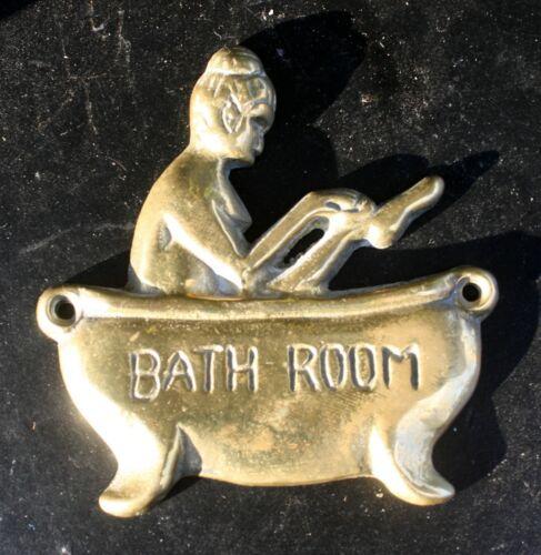 Vintage Antique Old SOLID Cast Brass BATH ROOM Door Decorative Vanity Plate Sign