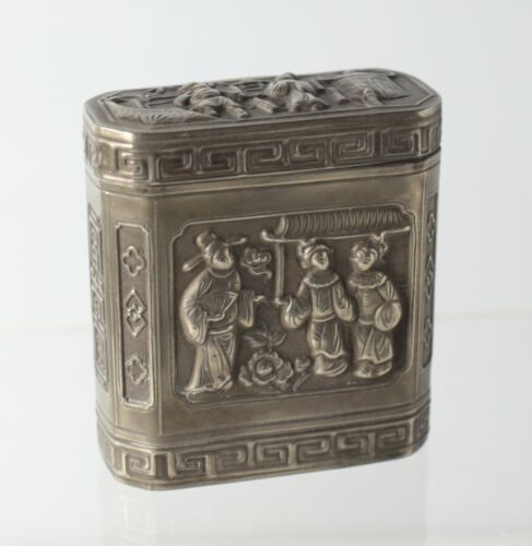 Chinese Silver Tin Opium Box, hand chased figures, flowers, birds