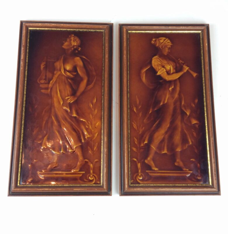 Pair of Antique Majolica classical Woman musician architectural tiles Harp horn