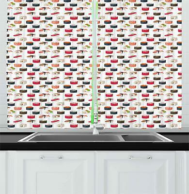 "Sushi Kitchen Curtains 2 Panel Set Window Drapes 55"" X 39"" A"