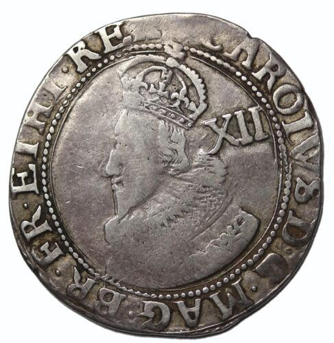 England Charles I 1625-1627 AR Silver Shilling Stuart Tower Mint S.2782