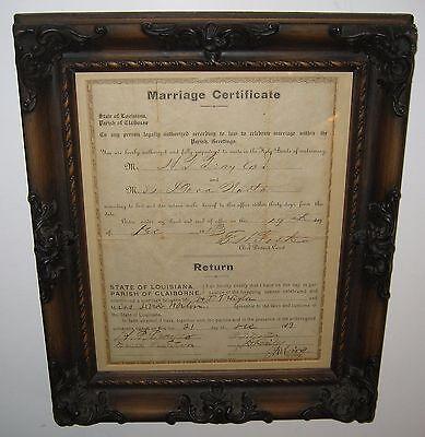 Antique Marriage Certificate State of Louisiana Claiborne Parish 1913