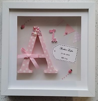 Personalised New Baby, Birth, Christening, Boy & Girl Wooden Letter Frame Gift