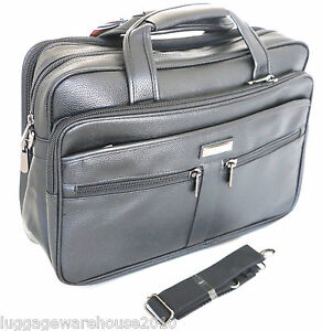 Mens-Black-Laptop-Bag-Messenger-Briefcase-Business-Work-Bag-Leather-Feel