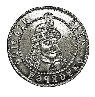 Count Dracula fantasy silver coin, Vlad the Impaler, Dragulea, Wyvern, Vampires