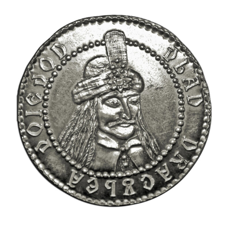 Count Dracula fantasy silver coin, Vlad the Impaler, Dragulea, Wyvern, Vampires