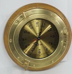 Vintage Porthole Brass Wall Clock Ship's Time Nautical Quartz 13.25 Coaster Co
