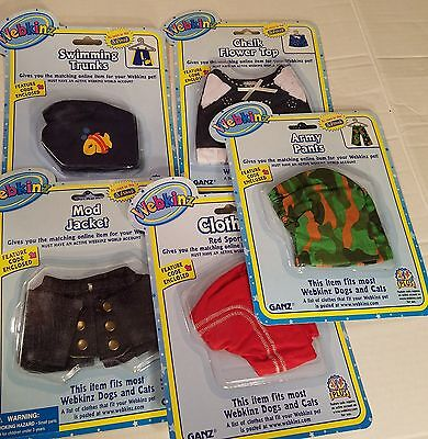 Lot of 5 Assorted Webkinz Pet Clothing For Dogs and Cats, GANZ New in Package