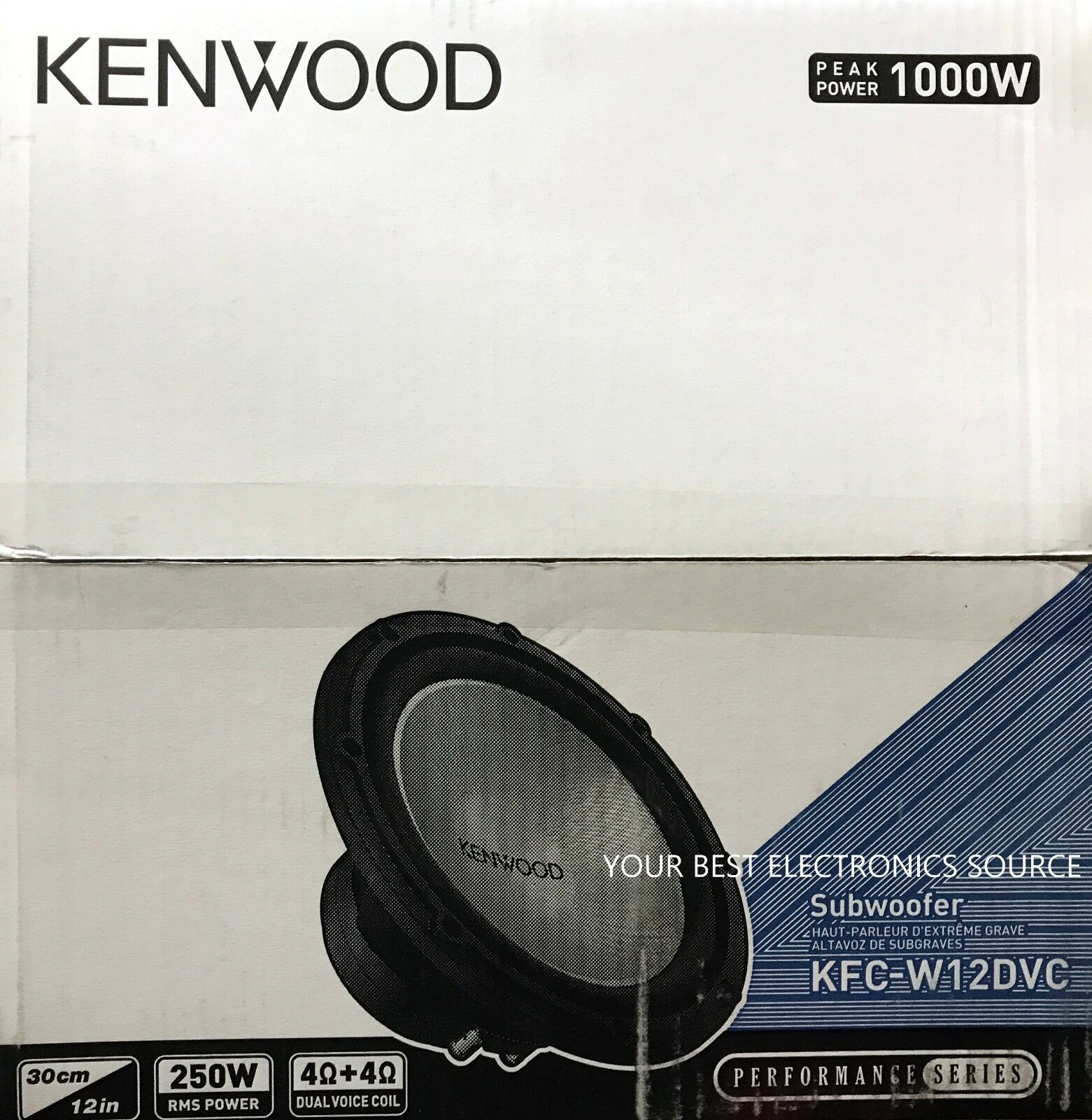 "Kenwood - 12"" Dual-voice-coil 4-ohm Subwoofer - Black/silver"