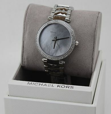 NEW AUTHENTIC MICHAEL KORS PARKER SILVER CRYSTALS WOMEN'S MK6424 WATCH